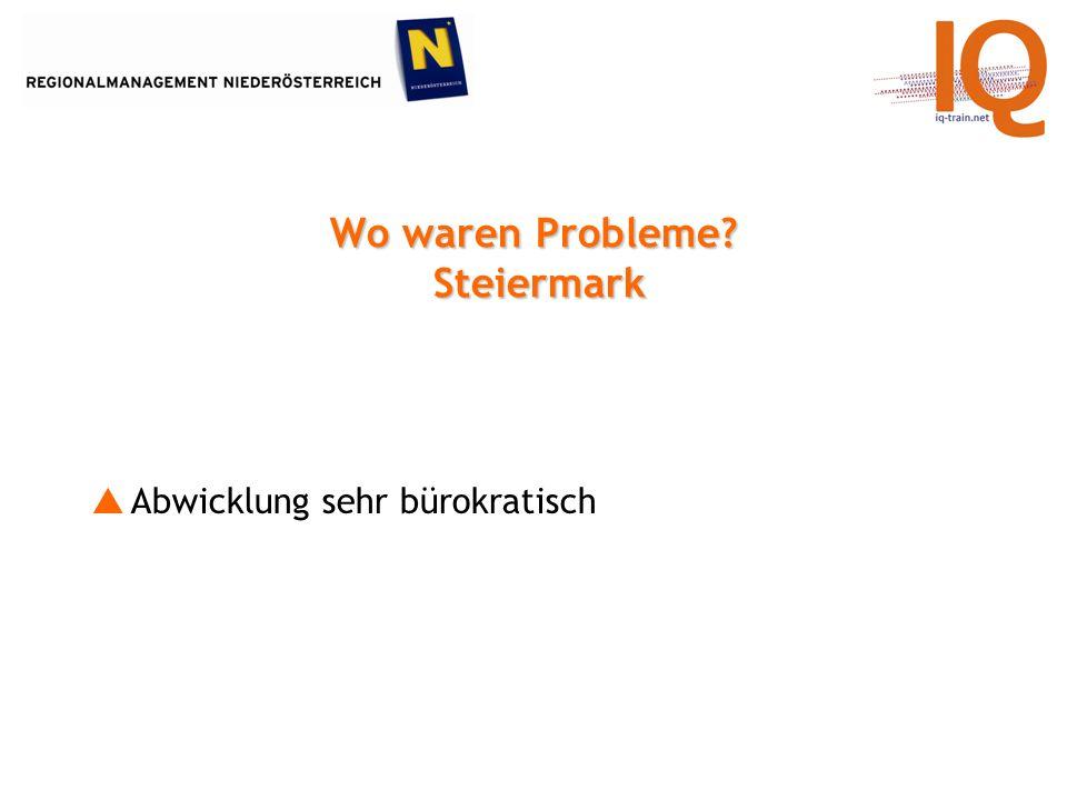 Wo waren Probleme? Steiermark Abwicklung sehr bürokratisch