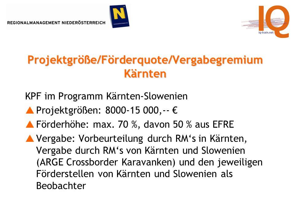 KPF im Programm Kärnten-Slowenien Projektgrößen: 8000-15 000,-- Förderhöhe: max.