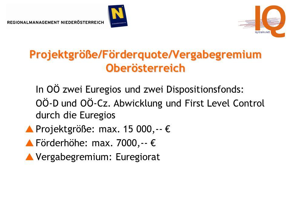 In OÖ zwei Euregios und zwei Dispositionsfonds: OÖ-D und OÖ-Cz.