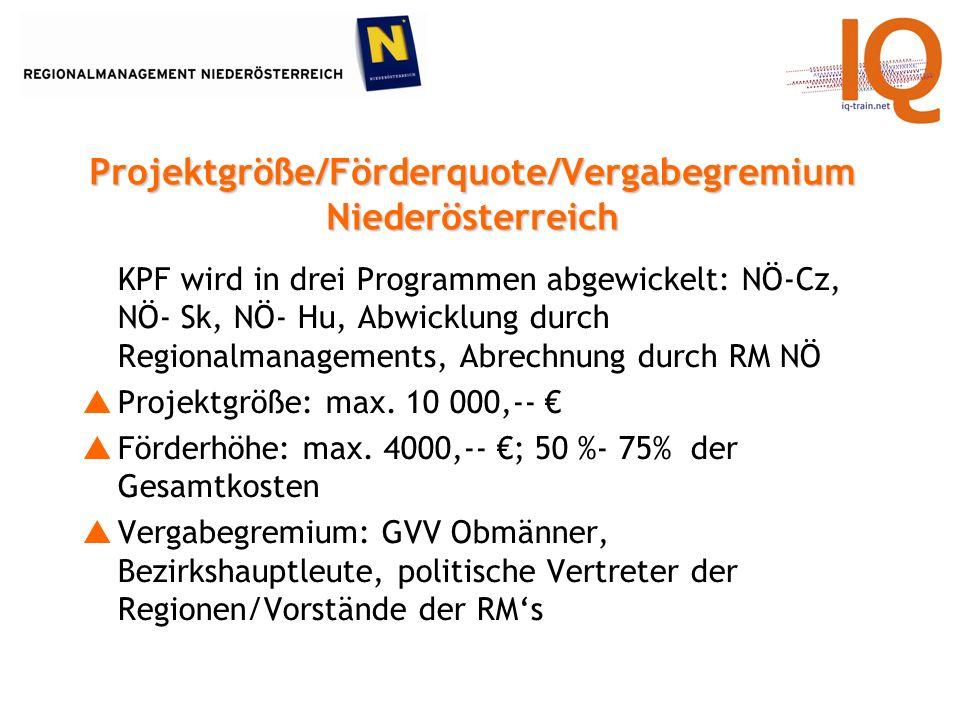 KPF wird in drei Programmen abgewickelt: NÖ-Cz, NÖ- Sk, NÖ- Hu, Abwicklung durch Regionalmanagements, Abrechnung durch RM NÖ Projektgröße: max.