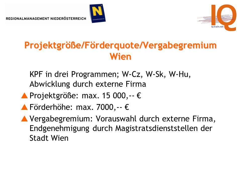 KPF in drei Programmen; W-Cz, W-Sk, W-Hu, Abwicklung durch externe Firma Projektgröße: max.