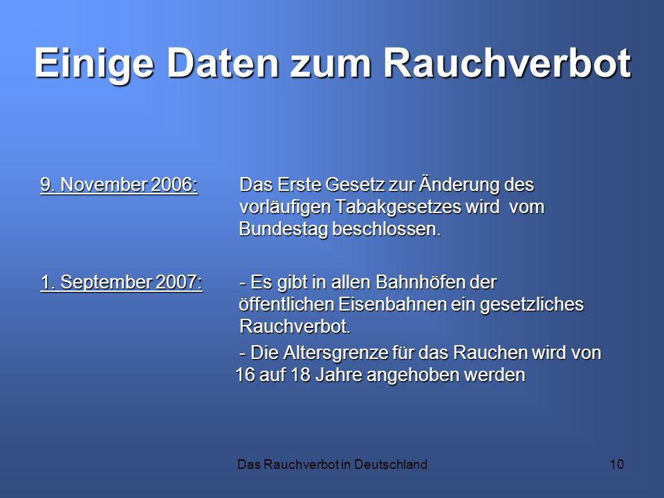 Das Rauchverbot in Deutschland10 Einige Daten zum Rauchverbot 9. November 2006: Das Erste Gesetz zur Änderung des vorläufigen Tabakgesetzes wird vom B