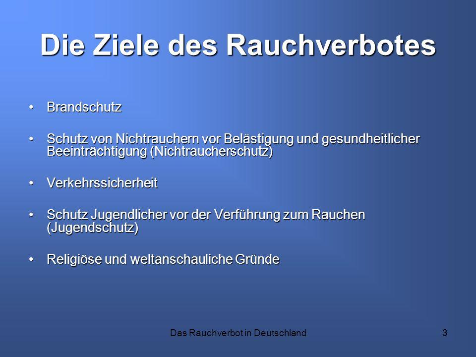 Das Rauchverbot in Deutschland3 Die Ziele des Rauchverbotes BrandschutzBrandschutz Schutz von Nichtrauchern vor Belästigung und gesundheitlicher Beein