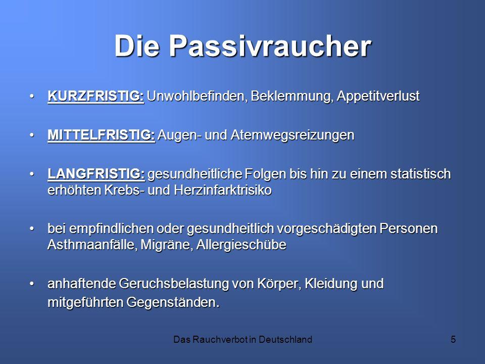 Das Rauchverbot in Deutschland5 Die Passivraucher KURZFRISTIG: Unwohlbefinden, Beklemmung, AppetitverlustKURZFRISTIG: Unwohlbefinden, Beklemmung, Appe