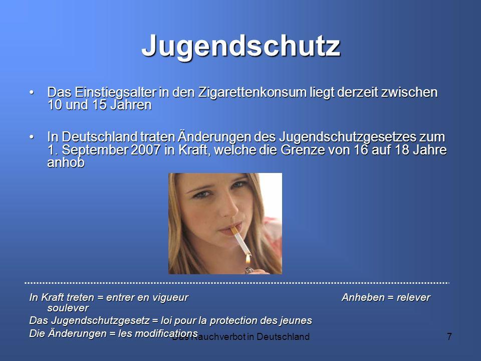 Das Rauchverbot in Deutschland7 Jugendschutz Das Einstiegsalter in den Zigarettenkonsum liegt derzeit zwischen 10 und 15 JahrenDas Einstiegsalter in d