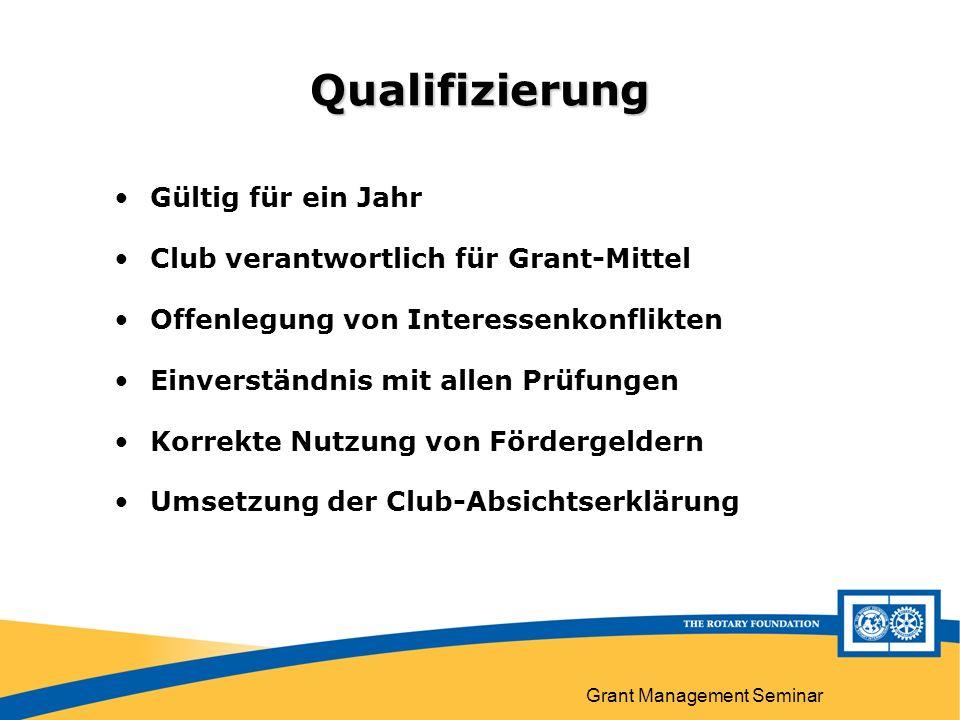 Grant Management Seminar Qualifizierung Gültig für ein Jahr Club verantwortlich für Grant-Mittel Offenlegung von Interessenkonflikten Einverständnis mit allen Prüfungen Korrekte Nutzung von Fördergeldern Umsetzung der Club-Absichtserklärung