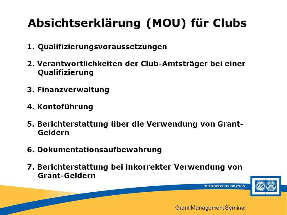 Grant Management Seminar Absichtserklärung (MOU) für Clubs A Absichtserklärung (MOU) für Clubs 1.Qualifizierungsvoraussetzungen 2.