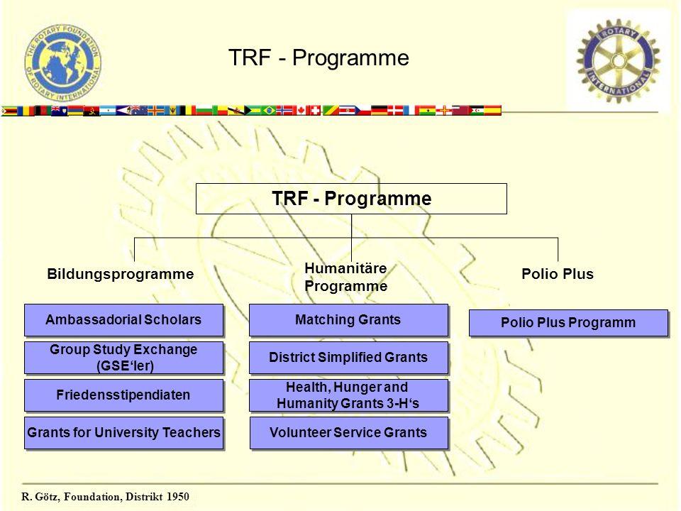 R. Götz, Foundation, Distrikt 1950 TRF - Programme Bildungsprogramme Humanitäre Programme Polio Plus Ambassadorial Scholars Group Study Exchange (GSEl