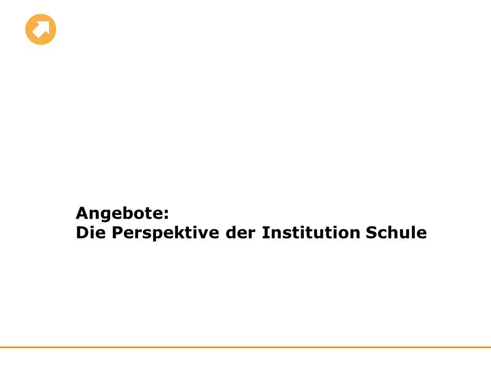 Angebote: Die Perspektive der Institution Schule