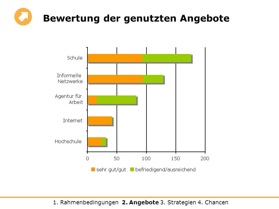 Bewertung der genutzten Angebote 1. Rahmenbedingungen 2. Angebote 3. Strategien 4. Chancen