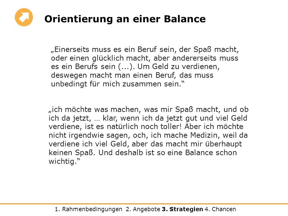 Orientierung an einer Balance ich möchte was machen, was mir Spaß macht, und ob ich da jetzt, … klar, wenn ich da jetzt gut und viel Geld verdiene, ist es natürlich noch toller.