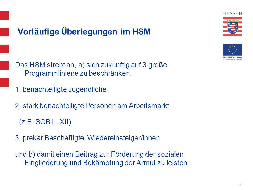 11 Vorläufige Überlegungen im HSM Das HSM strebt an, a) sich zukünftig auf 3 große Programmliniene zu beschränken: 1. benachteiligte Jugendliche 2. st