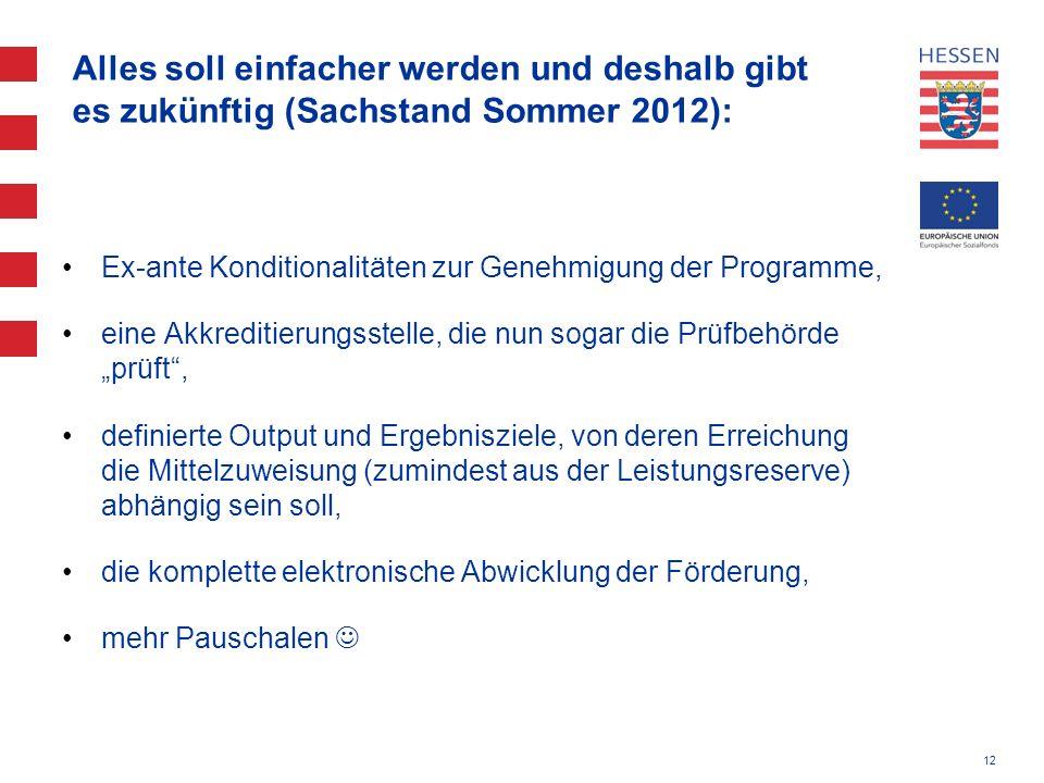 12 Alles soll einfacher werden und deshalb gibt es zukünftig (Sachstand Sommer 2012): Ex-ante Konditionalitäten zur Genehmigung der Programme, eine Ak