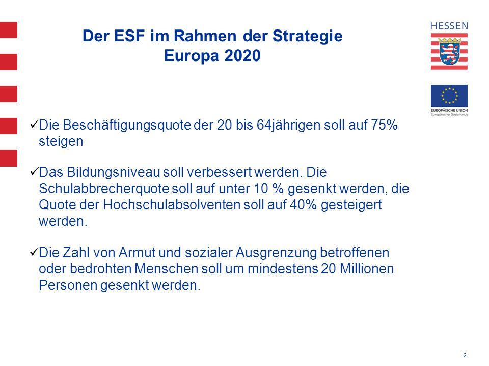 2 Der ESF im Rahmen der Strategie Europa 2020 Die Beschäftigungsquote der 20 bis 64jährigen soll auf 75% steigen Das Bildungsniveau soll verbessert we