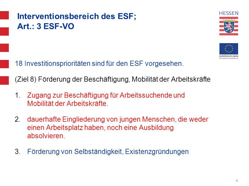 4 Interventionsbereich des ESF; Art.: 3 ESF-VO 18 Investitionsprioritäten sind für den ESF vorgesehen. (Ziel 8) Förderung der Beschäftigung, Mobilität