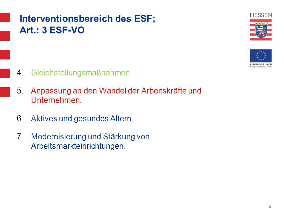 5 Interventionsbereich des ESF; Art.: 3 ESF-VO 4.Gleichstellungsmaßnahmen. 5.Anpassung an den Wandel der Arbeitskräfte und Unternehmen. 6.Aktives und
