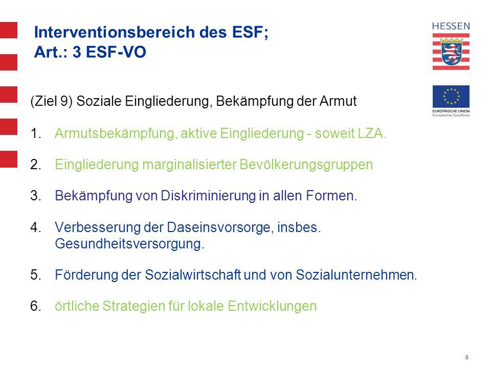 6 Interventionsbereich des ESF; Art.: 3 ESF-VO (Ziel 9) Soziale Eingliederung, Bekämpfung der Armut 1.Armutsbekämpfung, aktive Eingliederung - soweit