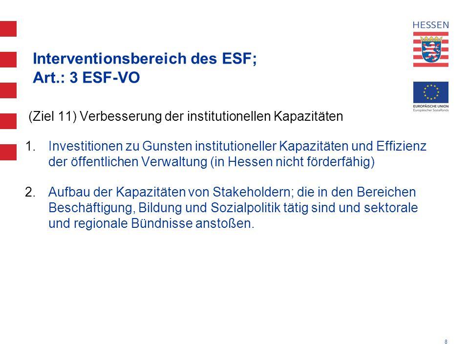 8 Interventionsbereich des ESF; Art.: 3 ESF-VO (Ziel 11) Verbesserung der institutionellen Kapazitäten 1.Investitionen zu Gunsten institutioneller Kap