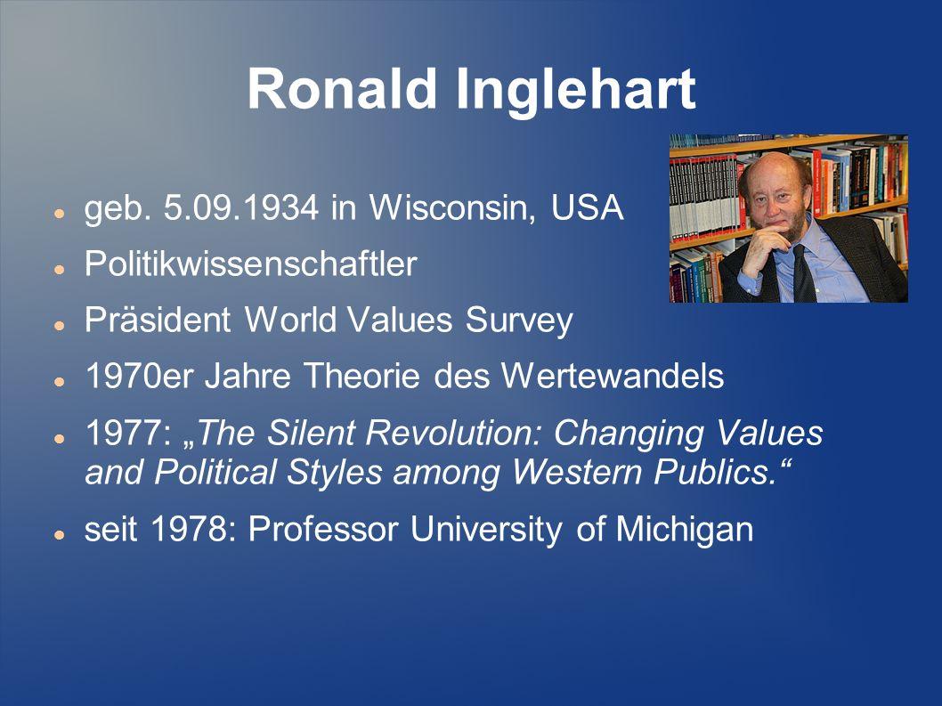 Ronald Inglehart geb. 5.09.1934 in Wisconsin, USA Politikwissenschaftler Präsident World Values Survey 1970er Jahre Theorie des Wertewandels 1977: The