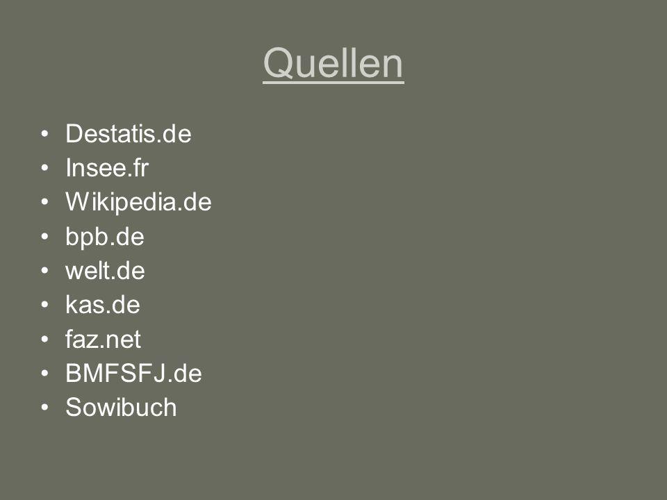 Quellen Destatis.de Insee.fr Wikipedia.de bpb.de welt.de kas.de faz.net BMFSFJ.de Sowibuch