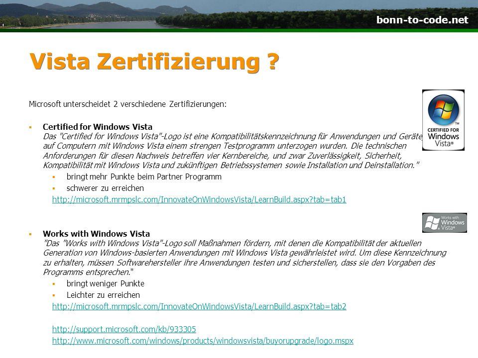 bonn-to-code.net Vista Zertifizierung .