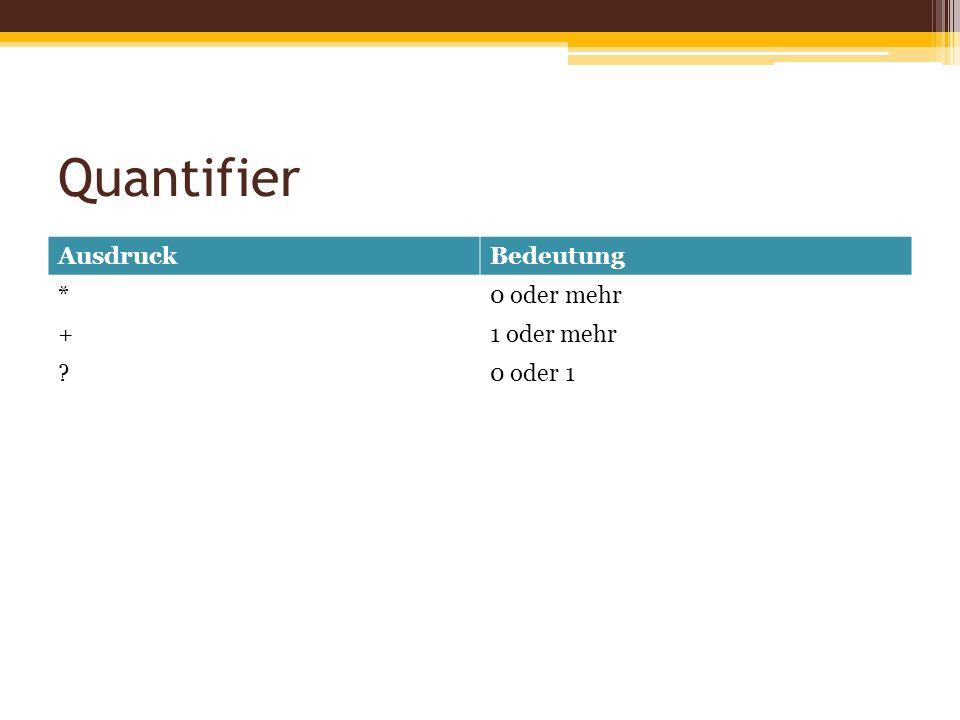 Quantifier AusdruckBedeutung *0 oder mehr +1 oder mehr ?0 oder 1