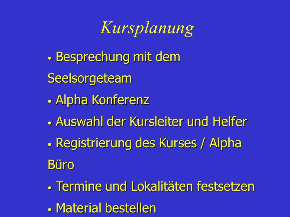 Kursplanung Besprechung mit dem Seelsorgeteam Besprechung mit dem Seelsorgeteam Alpha Konferenz Alpha Konferenz Auswahl der Kursleiter und Helfer Ausw