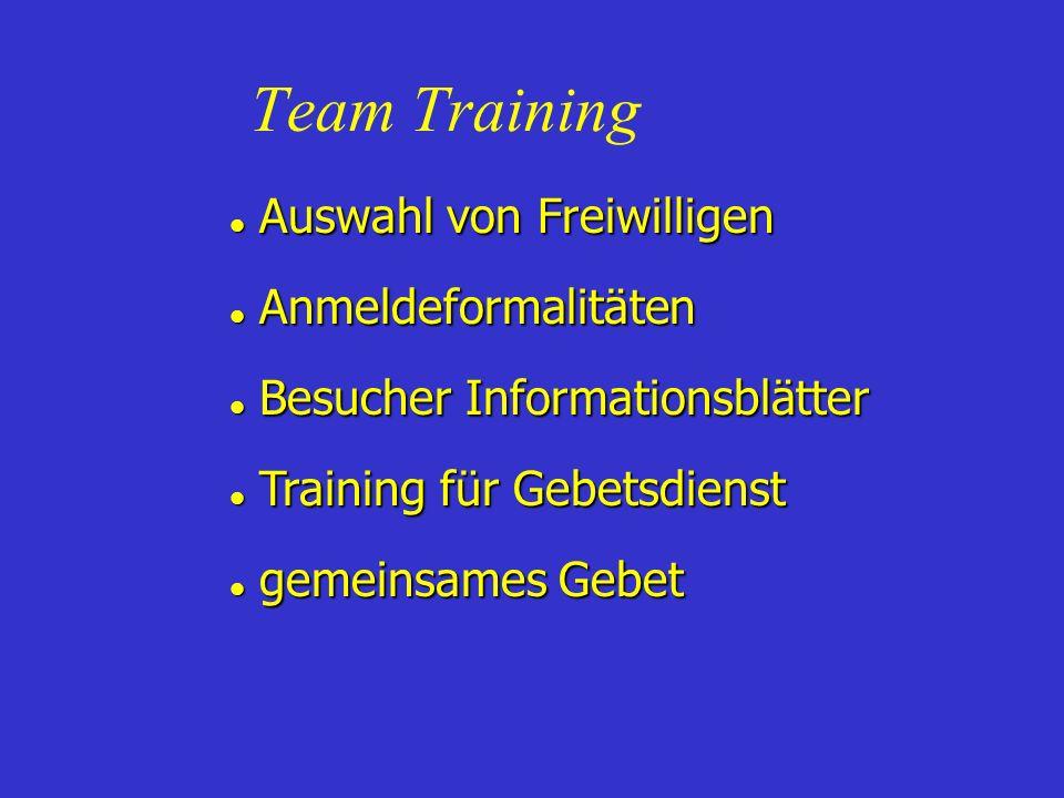 Team Training Auswahl von Freiwilligen Auswahl von Freiwilligen Anmeldeformalitäten Anmeldeformalitäten Besucher Informationsblätter Besucher Informat