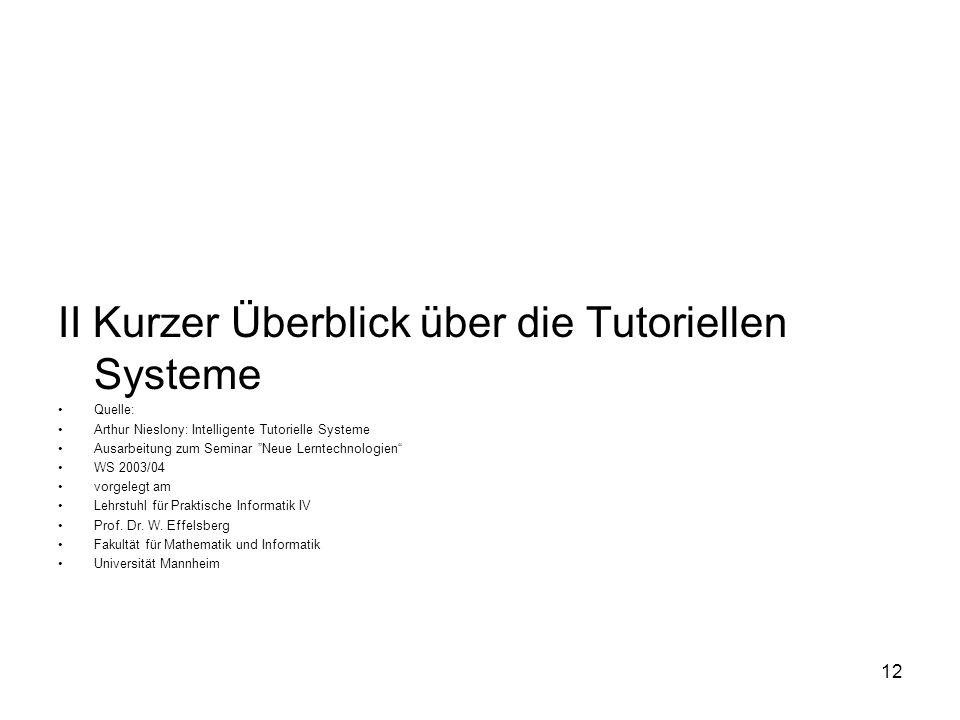 II Kurzer Überblick über die Tutoriellen Systeme Quelle: Arthur Nieslony: Intelligente Tutorielle Systeme Ausarbeitung zum Seminar Neue Lerntechnologi
