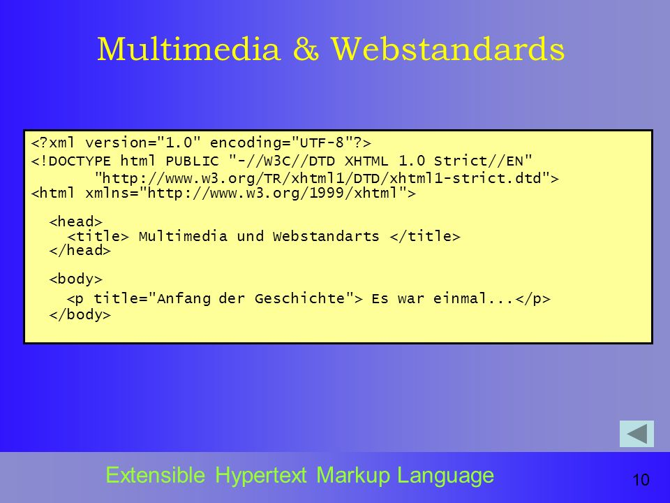 Multimedia & Webstandards 10 Extensible Hypertext Markup Language <!DOCTYPE html PUBLIC