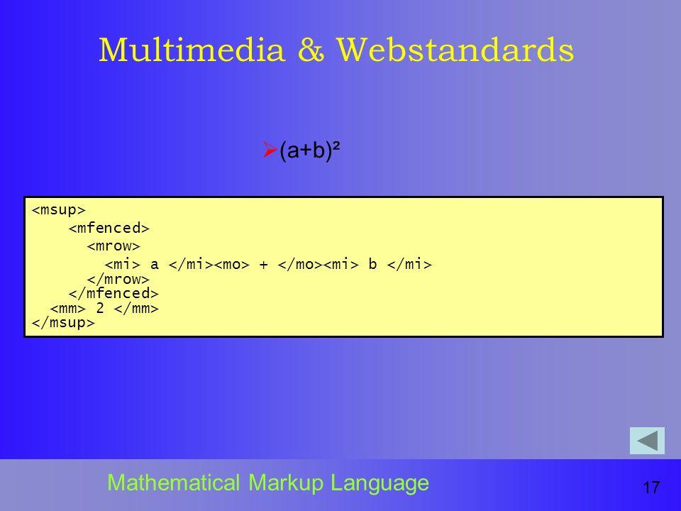 Multimedia & Webstandards 17 Mathematical Markup Language a + b 2 (a+b)²
