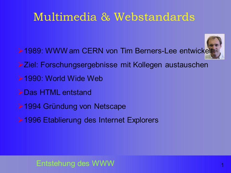 Multimedia & Webstandards 1989: WWW am CERN von Tim Berners-Lee entwickelt Ziel: Forschungsergebnisse mit Kollegen austauschen 1990: World Wide Web Das HTML entstand 1994 Gründung von Netscape 1996 Etablierung des Internet Explorers 1 Entstehung des WWW