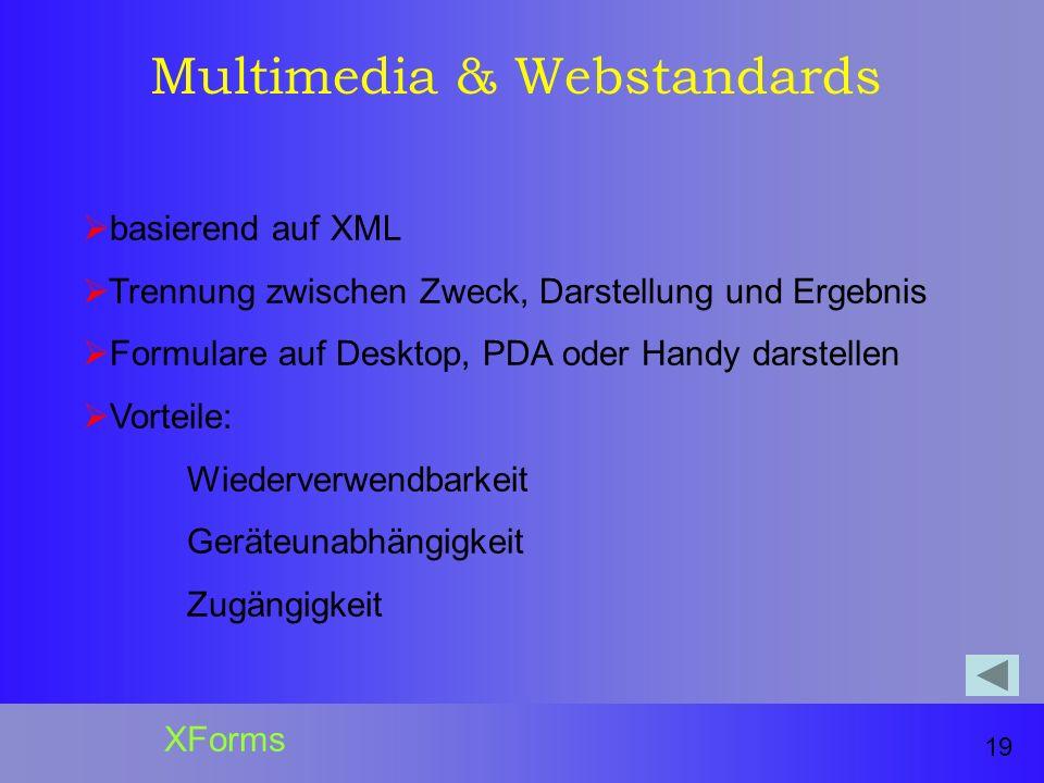 Multimedia & Webstandards basierend auf XML Trennung zwischen Zweck, Darstellung und Ergebnis Formulare auf Desktop, PDA oder Handy darstellen Vorteile: Wiederverwendbarkeit Geräteunabhängigkeit Zugängigkeit 19 XForms