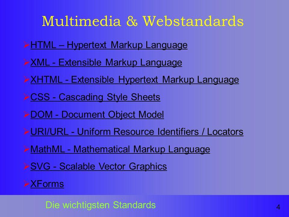 Multimedia & Webstandards HTML – Hypertext Markup Language XML - Extensible Markup Language XHTML - Extensible Hypertext Markup Language CSS - Cascading Style Sheets DOM - Document Object Model URI/URL - Uniform Resource Identifiers / Locators MathML - Mathematical Markup Language SVG - Scalable Vector Graphics XForms 4 Die wichtigsten Standards