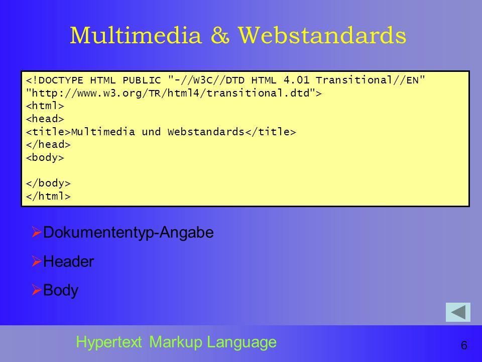 Multimedia & Webstandards Multimedia und Webstandards 6 Hypertext Markup Language Dokumententyp-Angabe Header Body