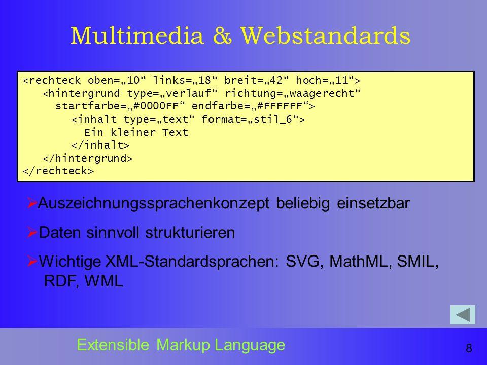 Multimedia & Webstandards <hintergrund type=verlauf richtung=waagerecht startfarbe=#0000FF endfarbe=#FFFFFF> Ein kleiner Text 8 Extensible Markup Language Auszeichnungssprachenkonzept beliebig einsetzbar Daten sinnvoll strukturieren Wichtige XML-Standardsprachen: SVG, MathML, SMIL, RDF, WML