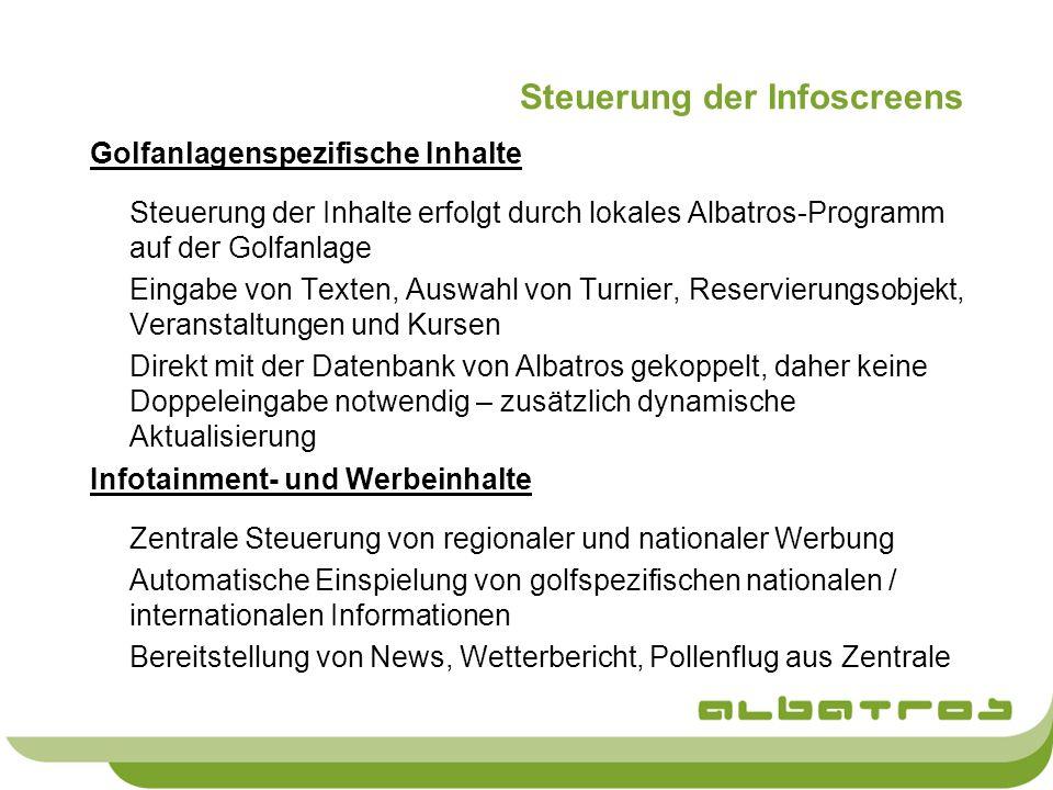 Steuerung der Infoscreens Golfanlagenspezifische Inhalte Steuerung der Inhalte erfolgt durch lokales Albatros-Programm auf der Golfanlage Eingabe von