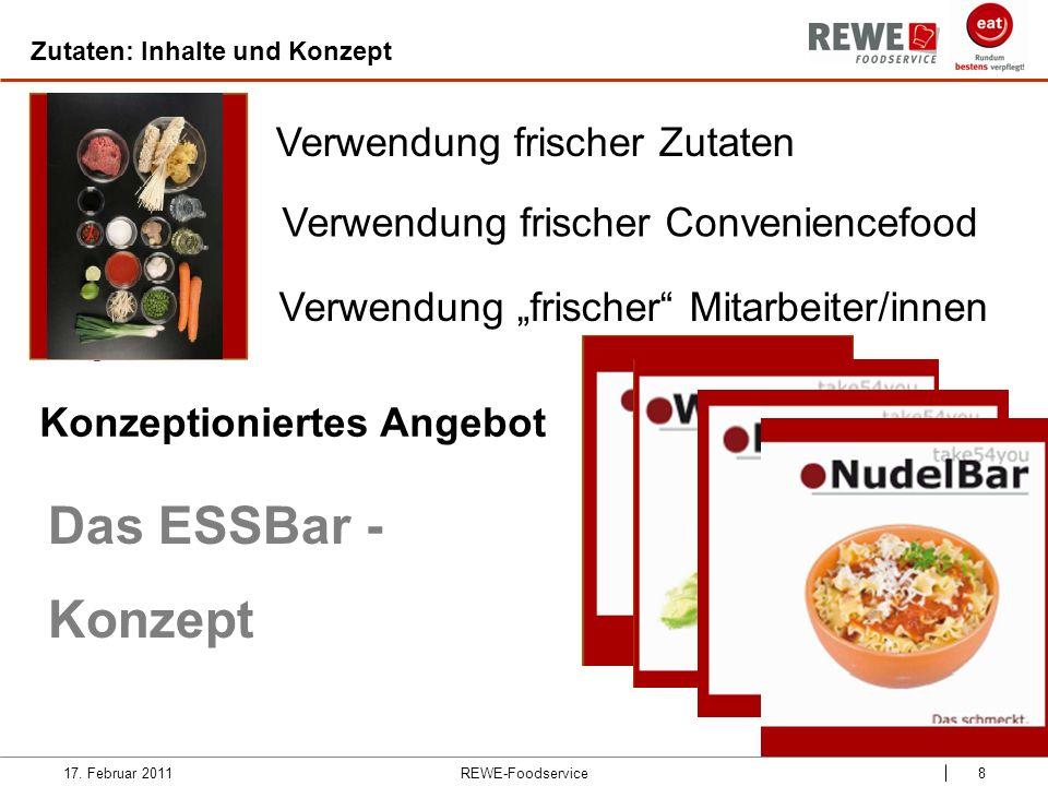 REWE-Foodservice8 Zutaten: Inhalte und Konzept 17. Februar 2011 Verwendung frischer Zutaten Verwendung frischer Conveniencefood Verwendung frischer Mi
