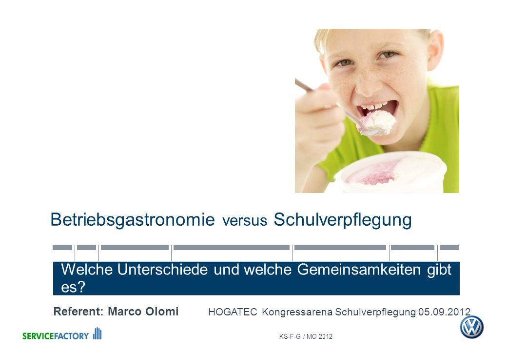 Betriebsgastronomie versus Schulverpflegung Welche Unterschiede und welche Gemeinsamkeiten gibt es? KS-F-G / MO 2012 Referent: Marco Olomi HOGATEC Kon