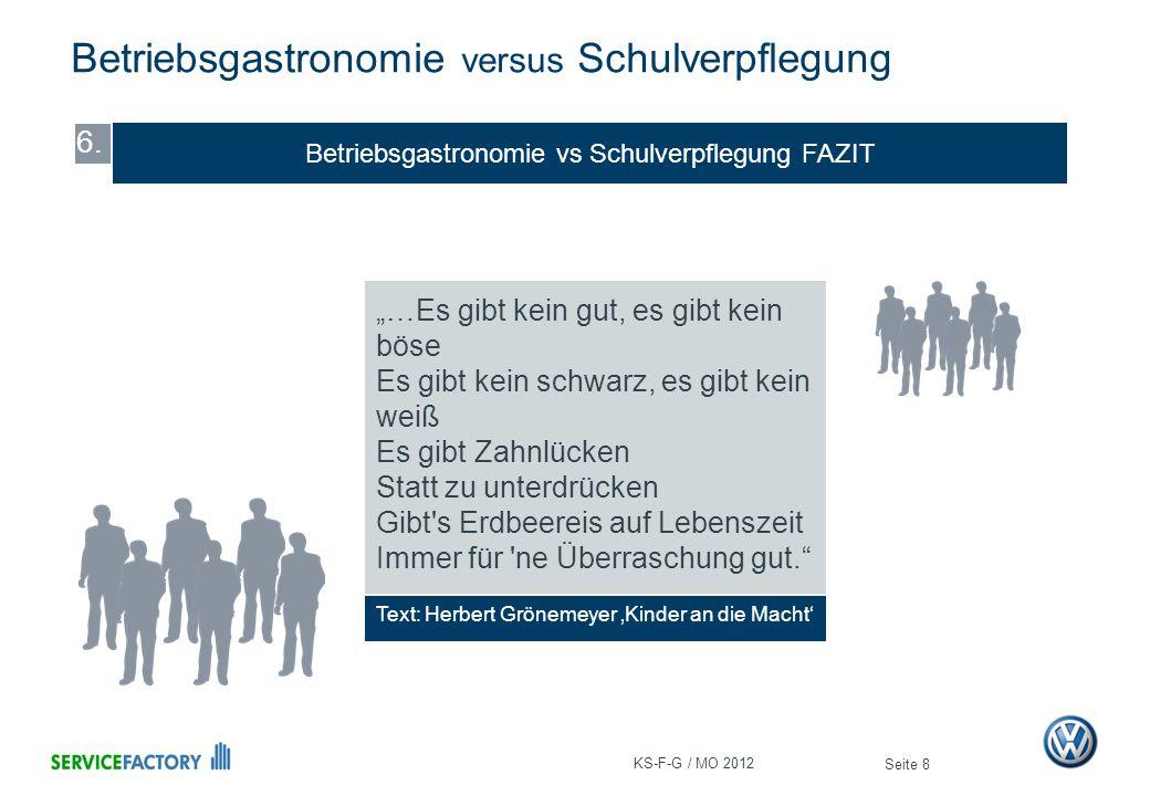 Betriebsgastronomie vs Schulverpflegung FAZIT Betriebsgastronomie versus Schulverpflegung Seite 8 6. Text: Herbert Grönemeyer Kinder an die Macht …Es