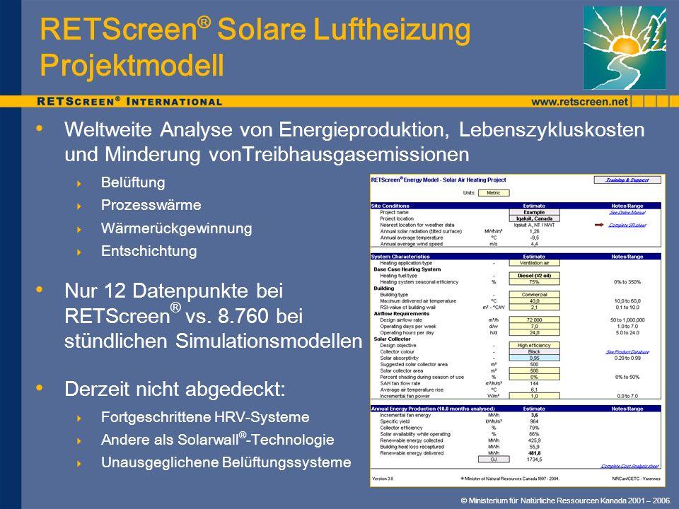 © Ministerium für Natürliche Ressourcen Kanada 2001 – 2006. RETScreen ® Solare Luftheizung Projektmodell Weltweite Analyse von Energieproduktion, Lebe