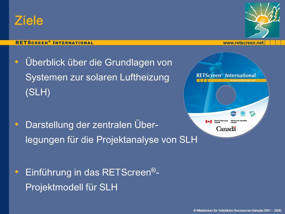 Ziele Überblick über die Grundlagen von Systemen zur solaren Luftheizung (SLH) Darstellung der zentralen Über- legungen für die Projektanalyse von SLH