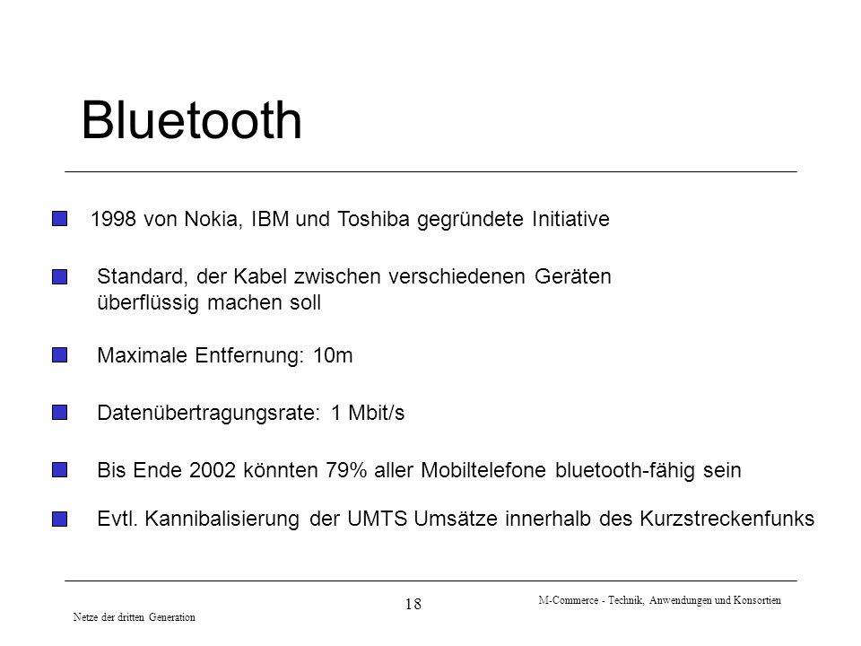 Netze der dritten Generation M-Commerce - Technik, Anwendungen und Konsortien 18 Bluetooth 1998 von Nokia, IBM und Toshiba gegründete Initiative Daten