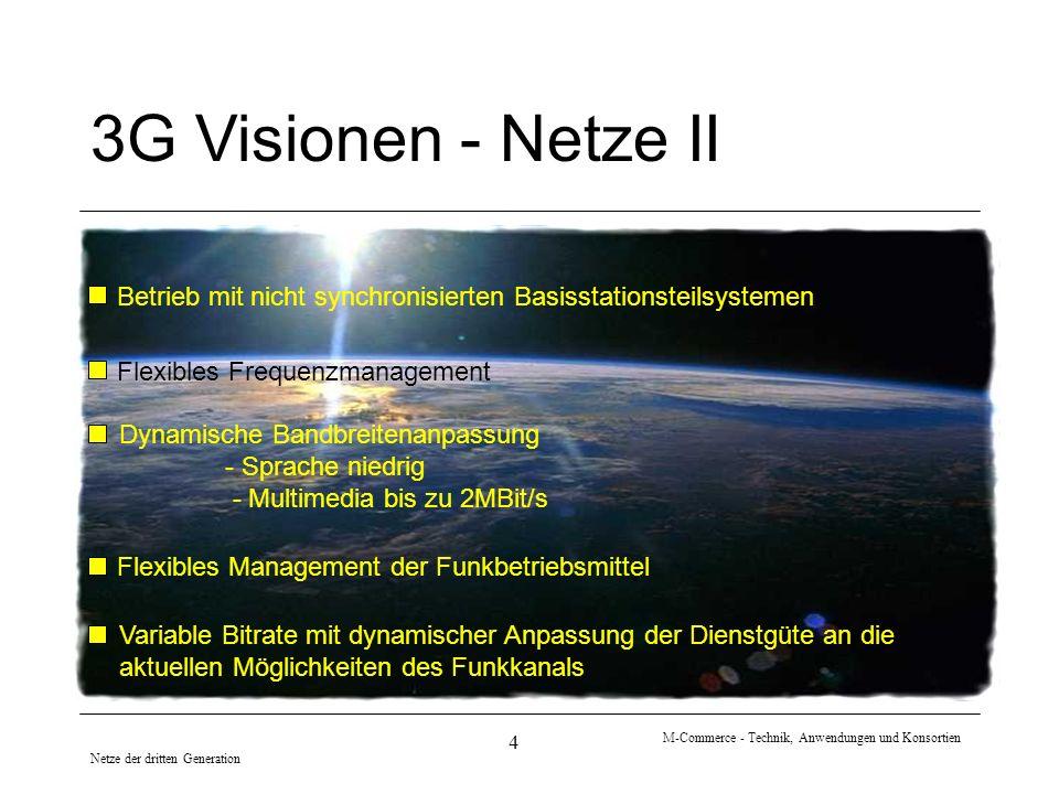 Netze der dritten Generation M-Commerce - Technik, Anwendungen und Konsortien 4 3G Visionen - Netze II Betrieb mit nicht synchronisierten Basisstation