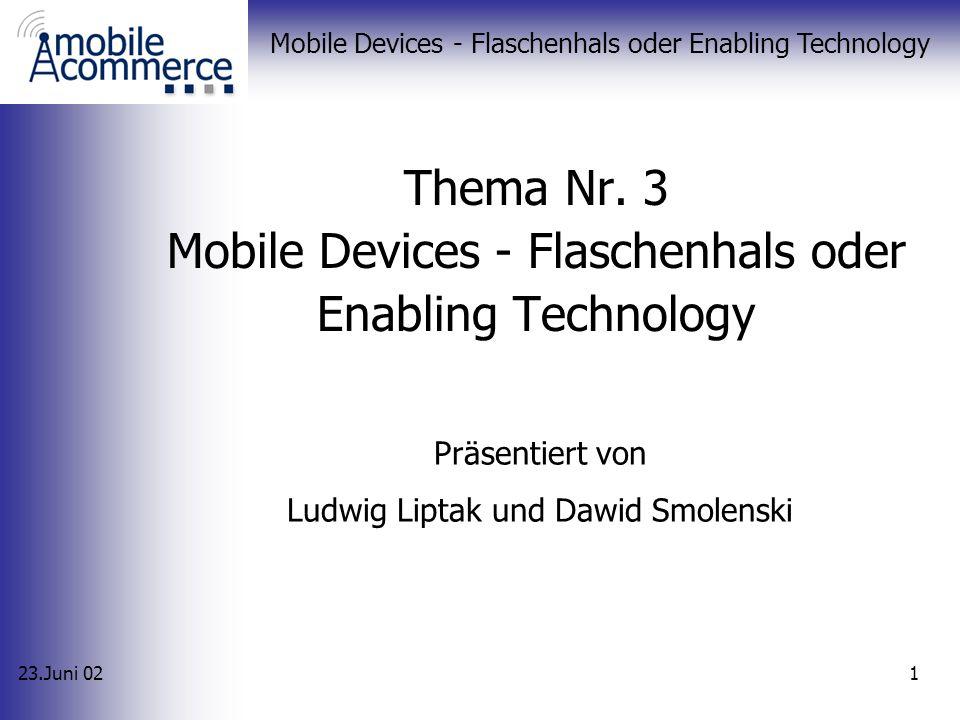 23.Juni 02 Mobile Devices - Flaschenhals oder Enabling Technology 31 Alternativen XHTML MMIT Intelligente Browser Einführung Standards Gremien Anwendungen Alternativen Fazit
