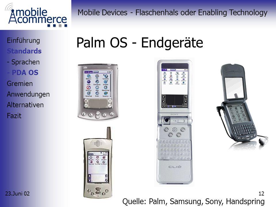 23.Juni 02 Mobile Devices - Flaschenhals oder Enabling Technology 11 Palm OS - Überblick 1996 von Palm Inc. entwickelt Weit verbreitet (>50% MA) Schla