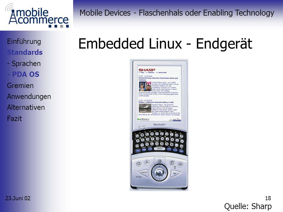 23.Juni 02 Mobile Devices - Flaschenhals oder Enabling Technology 17 Embedded Linux - Überblick Open Source Software Weiterentwicklung durch Lineo zu