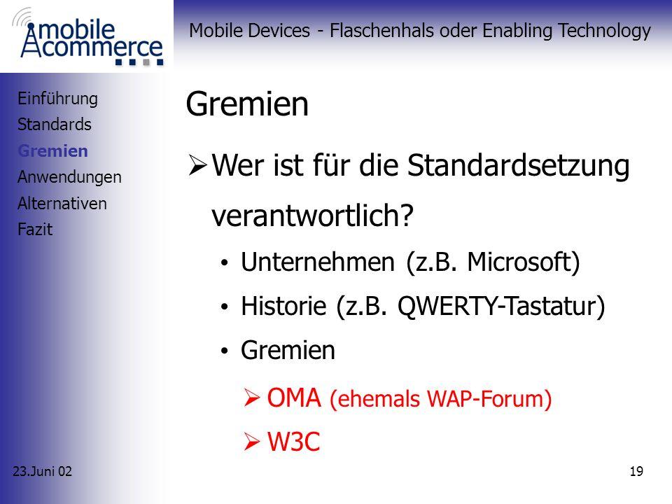 23.Juni 02 Mobile Devices - Flaschenhals oder Enabling Technology 18 Embedded Linux - Endgerät Einführung Standards - Sprachen - PDA OS Gremien Anwend