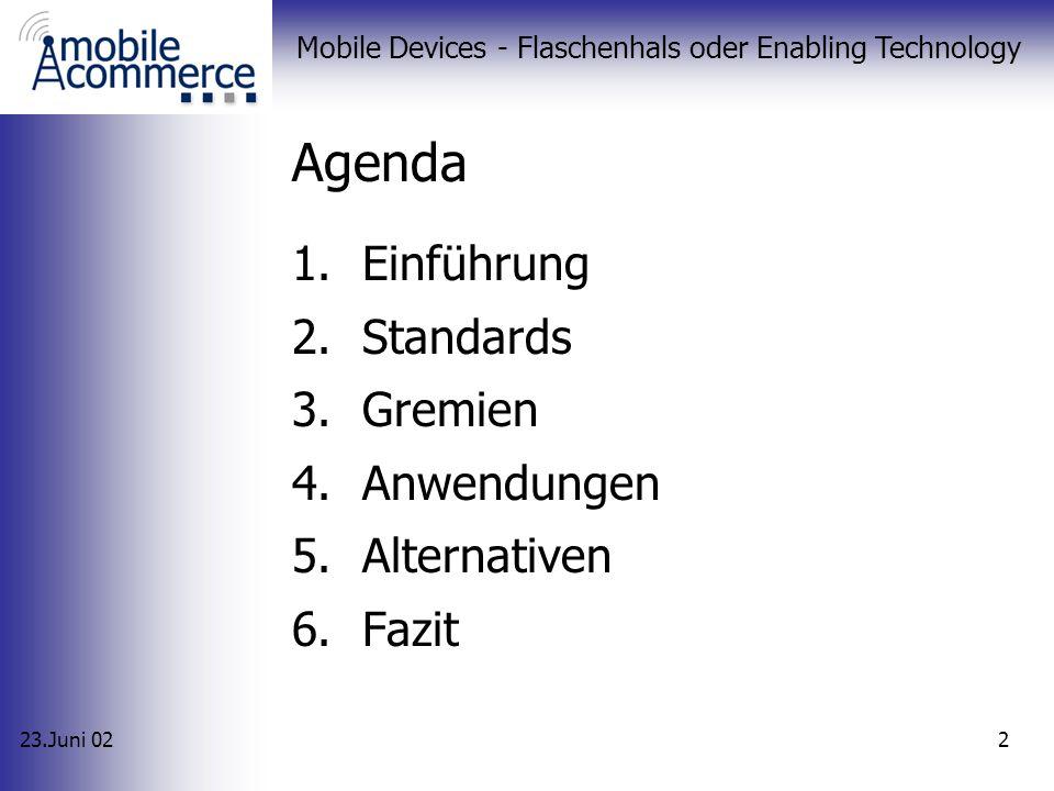 23.Juni 02 Mobile Devices - Flaschenhals oder Enabling Technology 2 Agenda 1.Einführung 2.Standards 3.Gremien 4.Anwendungen 5.Alternativen 6.Fazit