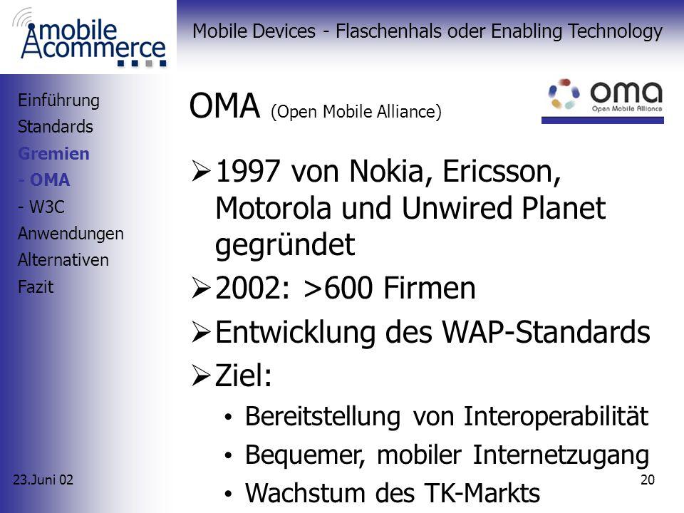 23.Juni 02 Mobile Devices - Flaschenhals oder Enabling Technology 19 Gremien OMA (ehemals WAP-Forum) W3C Einführung Standards Gremien Anwendungen Alte